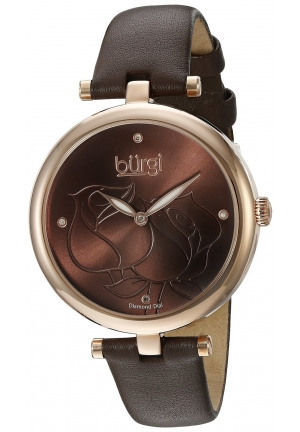 Burgi Women's Analog Display Quartz Brown Watch