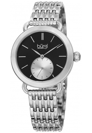 Burgi Women's Round Black Dial Two Hand Quartz Stainless Steel Bracelet Watch
