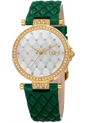 Burgi Women's Round White Dial Three Hand Quartz Gold Tone Strap Watch