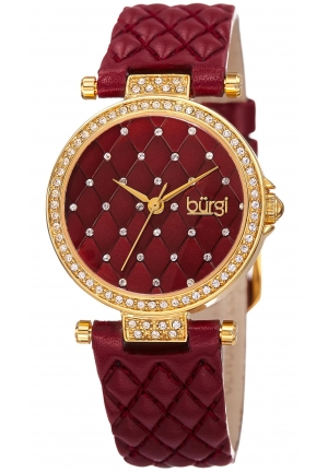 BURGI WOMEN'S YELLOW GOLD QUARTZ WATCH WITH