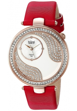 Burgi Women's Round Gold, White and Silver Dial Three Hand Quartz Strap Watch