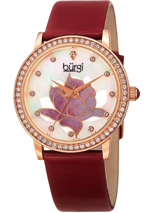 Burgi Women's Quartz Black Leather Dress Watch