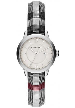 BURBERRY Swiss Stone Check Fabric Strap Watch 32mm