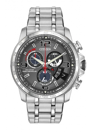 CITIZEN Chrono-Time A-T Analog Display Japanese Quartz Silver Watch 44mm