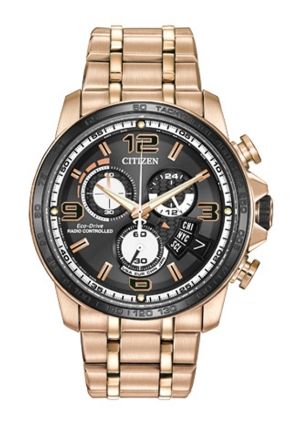 Citizen Men's Chrono-Time A-T Analog Display Japanese Quartz Rose Gold Watch