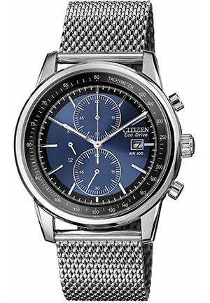 Men's Chronograph Eco-Drive Stainless Steel Mesh Bracelet 42mm
