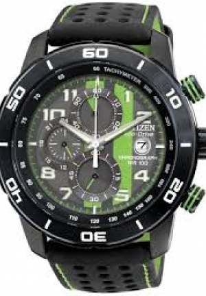Men's Chronograph Eco-Drive Black Polyurethane-Coated Leather Strap 45mm