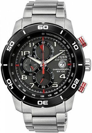 Men's Chronograph Eco-Drive Stainless Steel Bracelet 45mm