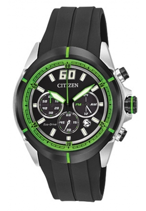 itizen Men's HTM Eco-Drive Green Accented Black Dial Black Rubber Strap Chronograph Watch
