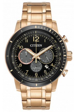 BRYCEN Men's Eco-Drive Chronograph Gold Watch