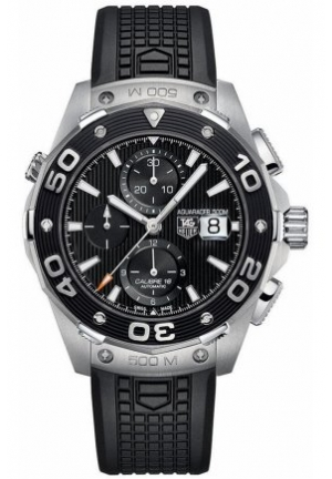 TAG Heuer Watch, Men's Swiss Chronograph Aquaracer Black Leather Strap 44mm CAJ2110.FT6023