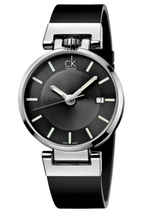 CALVIN KLEIN Men's Swiss Worldly Black Leather Strap Watch 42mm