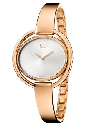 CALVIN KLEIN Women's Swiss Impetuous Rose Gold PVD Stainless Steel Bangle Bracelet Watch 40mm