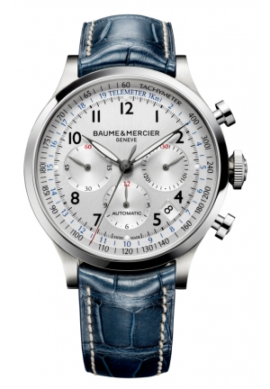 BAUME & MERCIER A steel and round 44mm chronograph watch