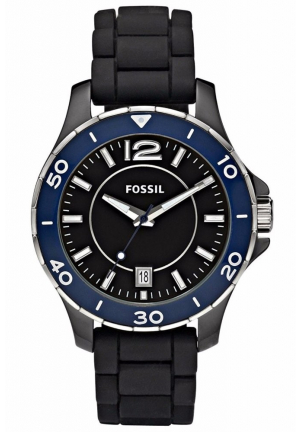 FOSSIL BLACK CERAMIC CASE BLUE BEZEL BLACK DIAL BLACK SILICO
