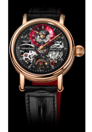SIRIUS FLYING GRAND REGULATOR SKELETON CH-6721SR-BKRE/21-21, 44MM