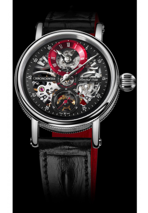 SIRIUS FLYING GRAND REGULATOR SKELETON CH-6723S-BKRE/21-21, 44MM