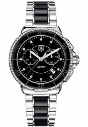 Women's Chronograph Diamond (1/2 ct. t.w.) Black Ceramic and Stainless Steel Bracelet 41mm CH1212.BA0862