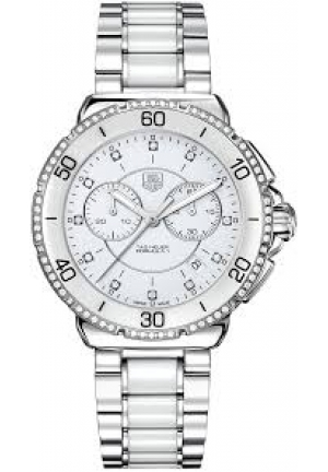 Women's Chronograph Diamond White Ceramic and Stainless Steel Bracelet 41mm CH1213.BA0863