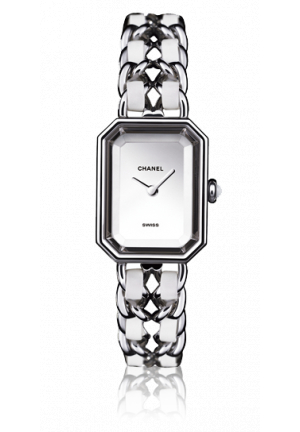 Chanel White Leather/ Steel Premiere 20mm