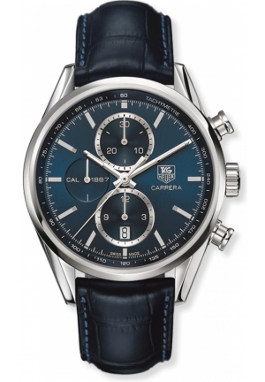 Chronograph Automatic Blue Dial Black Leather Mens Watch 41mm