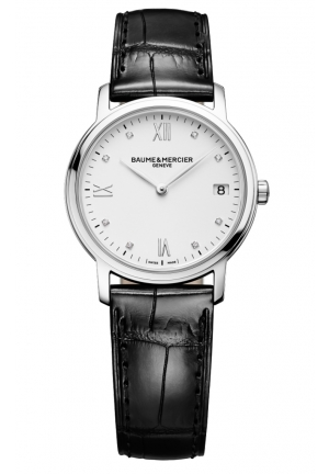BAUME & MERCIER White Dial Black Leather Strap Ladies Watch 33mm