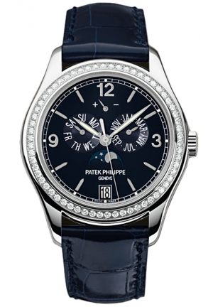 Complications Annual Calendar Blue Dial 18kt White Gold Diamond Blue Leather Men's Watch 5147G-001, 39mm