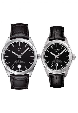 COUPLE TISSOT BLACK LEATHER T1012511605100 - T1014511605100