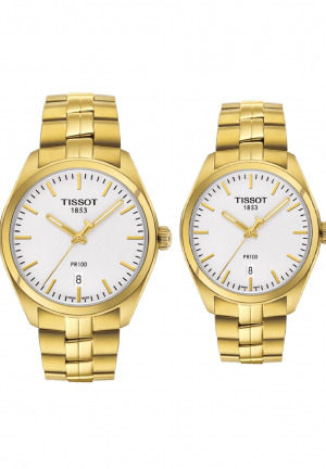 COUPLE TISSOT PR100 GOLD TONE T1012103303100 - T1014103303100