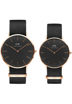 Daniel Wellington Classic Black Cornwall Couple Watch