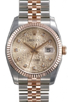 Datejust Pink Jubilee Diamond Dial Fluted 18k Rose Gold Bezel Jubilee Bracelet Mens Watch ,36mm