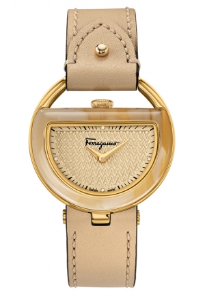 Diamond Gold IP Leather Watch 37mm