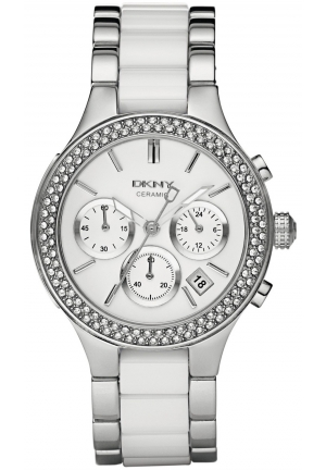 DKNY Broadway Chronograph Steel and White Ceramic Ladies Watch 38mm
