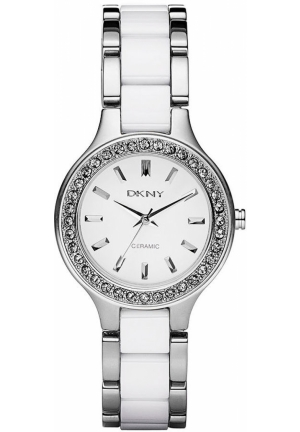 DKNY Broadway White Ceramic and Stainless Steel Bracelet 30mm