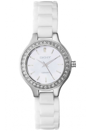 DKNY Broadway White Ceramic Glitzy Women's watch 30mm