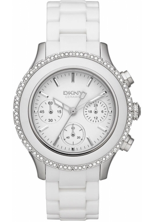 DKNY Brooklyn Women's Chronograph White Ceramic Bracelet 42mm