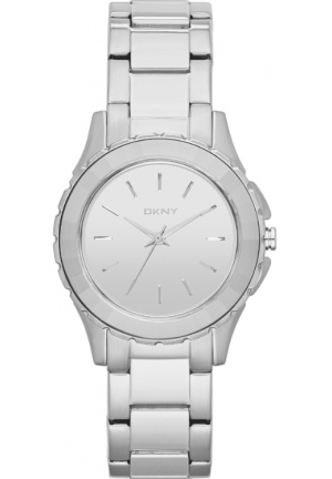 DKNY Ladies Brooklyn Silver Tone Bracelet Watch 32mm