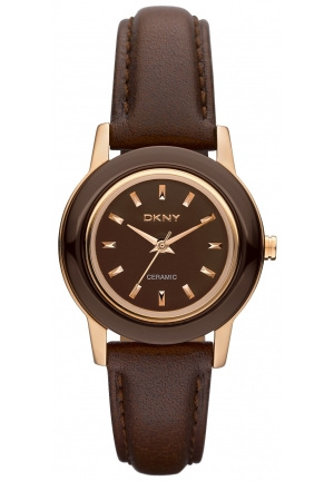 DKNY Ladies Ceramix Brown Leather Watch 28mm