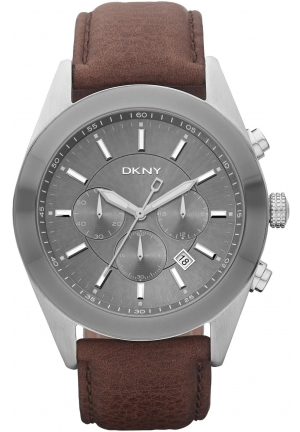 DKNY Nolita Gents Chronograph Brown Leather Strap Watch 40mm