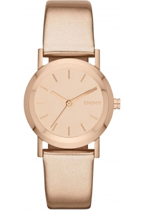 DKNY Rose-Gold-Tone Leather Mirror Dial Women's watch 30mm