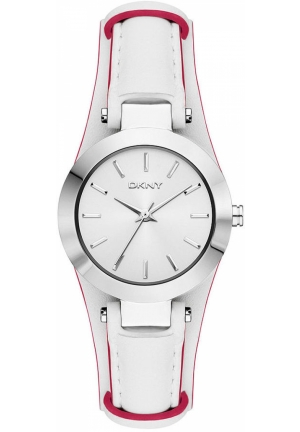 DKNY Sasha Women's Coral and White Leather Strap 28mm
