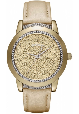 DKNY Tribeca Women's Champagne Leather Strap 38mm
