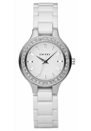 DKNY Watch, Women's White Ceramic Bracelet 30mm