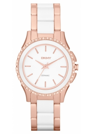 DKNY White Dial Rose Gold-tone White Ceramic Ladies Watch 32mm