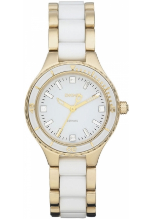 DKNY Women's Gold-Tone Stainless Steel and White Ceramic Bracelet 40mm