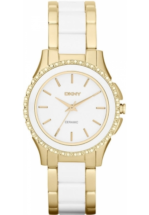 DKNY Women's White Ceramic and Gold Ion-Plated Stainless Steel Bracelet 32mm