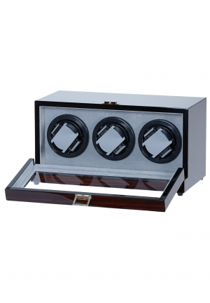 Double Automatic Dual Motor Watch Winder - Black Leather