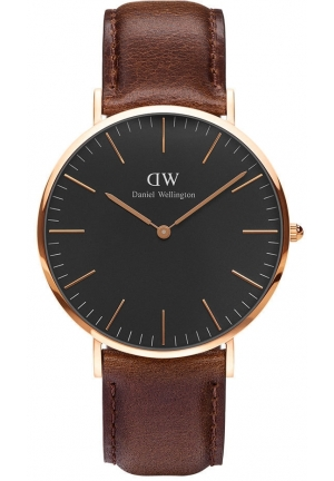 Classic Black Bristol  Rose Gold 40mm dw00100125