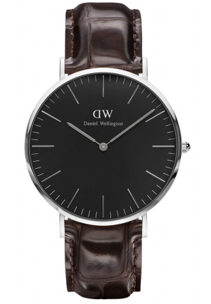 Daniel Wellington Classic Black York Brown Leather Strap DW00100144
