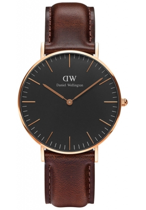 Classic Black Bristol 36mm Rose Gold DW00100137